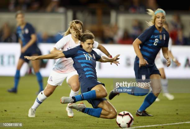 Tobin Heath of the United States scores a goal against Chile during their match at Avaya Stadium on September 4 2018 in San Jose California