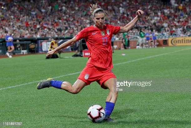 Tobin Heath of the United States takes a shot in the second half against New Zealand at Busch Stadium on May 16 2019 in St Louis Missouri