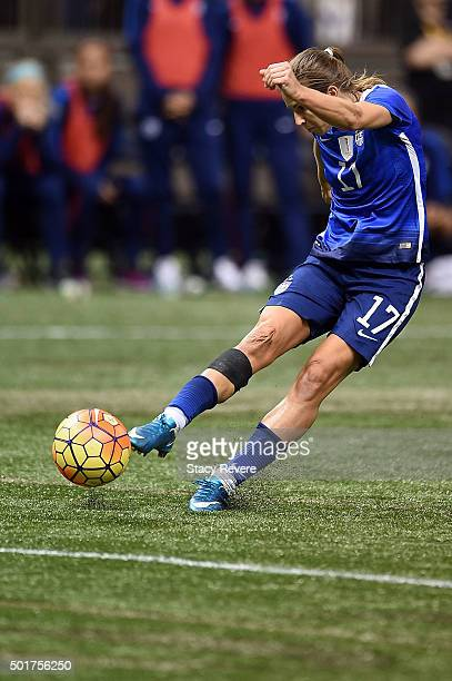Tobin Heath of the United States takes a shot on goal during the women's soccer match against China at the MercedesBenz Superdome on December 16 2015...
