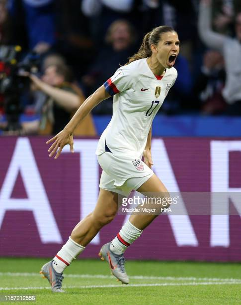 Tobin Heath of the USA celebrates after scoring her team's second goal during the 2019 FIFA Women's World Cup France group F match between Sweden and...
