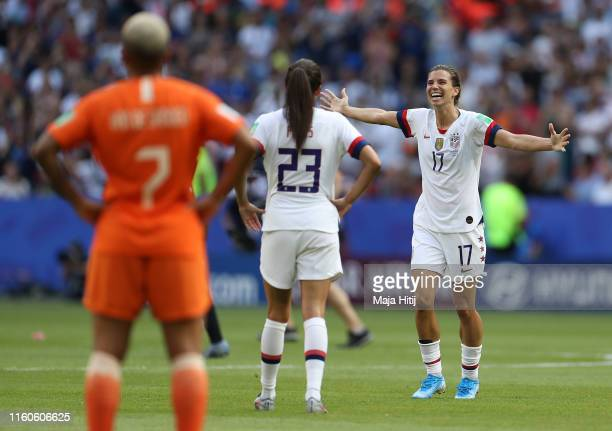 Tobin Heath of the USA celebrates victory at fulltime after winning the 2019 FIFA Women's World Cup France Final match between The United States of...