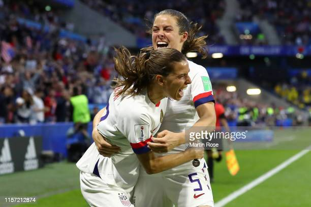 Tobin Heath of the USA celebrates with teammate Kelley O'hara after scoring her team's second goal during the 2019 FIFA Women's World Cup France...