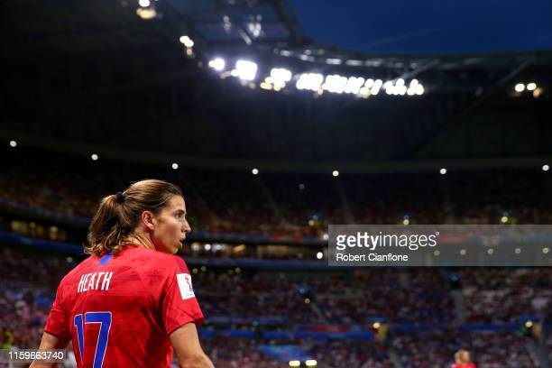 Tobin Heath of the USA looks on during the 2019 FIFA Women's World Cup France Semi Final match between England and USA at Stade de Lyon on July 02...