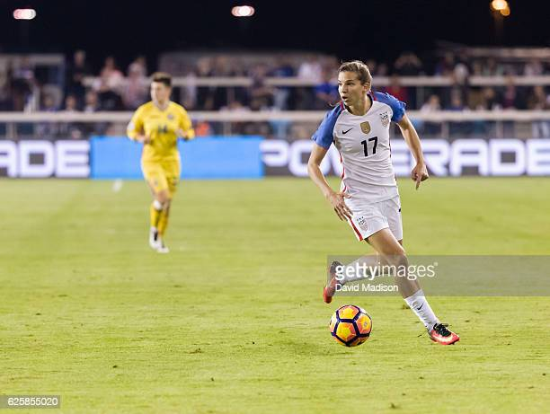 Tobin Heath of the USA plays in a soccer game against Romania on November 10 2016 at Avaya Stadium in San Jose California