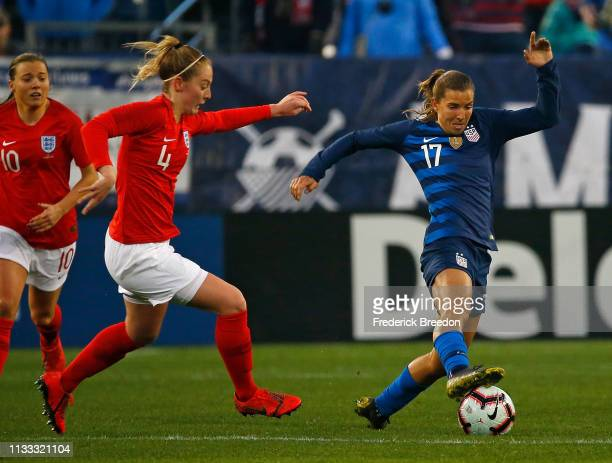 Tobin Heath of the USA plays in the 2019 SheBelieves Cup match between USA and England at Nissan Stadium on March 2 2019 in Nashville Tennessee