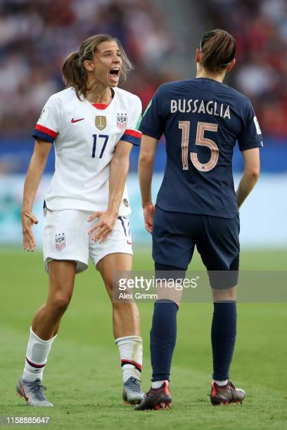Tobin Heath of the USA reacts during the 2019 FIFA Women's World Cup France Quarter Final match between France and USA at Parc des Princes on June 28...