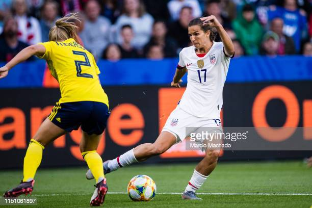 Tobin Heath of United States dribbles Jonna Andersson of Sweden during the 2019 FIFA Women's World Cup France group F match between Sweden and USA at...