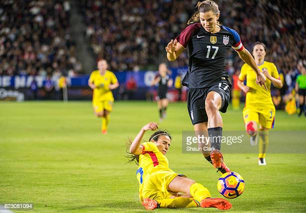 Tobin Heath of United States races toward goal during United States international friendly match against Romania at the StubHub Center on November 13...