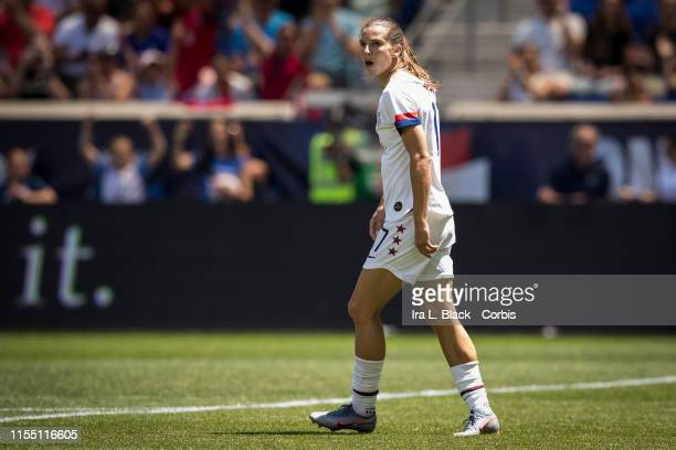 Tobin Heath of United States takes a moment to celebrate scoring a goal in the 1st half of the International Friendly match the US Women's National...