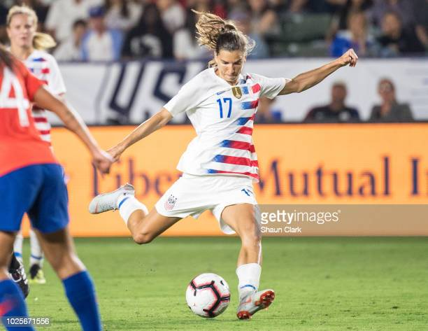Tobin Heath of United States takes a shot during the United States international friendly match against Chile at StubHub Center on August 31 2018 in...