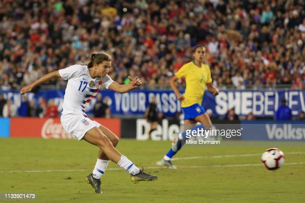Tobin Heath of USA takes a goal kick against the Brazil in the first half during the She Believes Cup at Raymond James Stadium on March 05 2019 in...