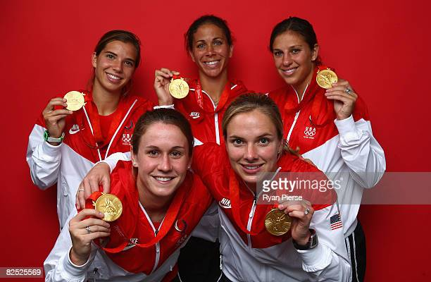 Tobin Heath, Shannon Boxx, Carli Lloyd and Heather O'Reilly and Lindsay Tarpley of the United States pose in the NBC Today Show Studio as part of the...