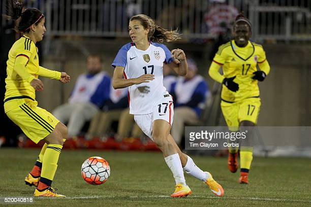 Tobin Heath USA in action during the USA Vs Colombia Women's International friendly football match at the Pratt Whitney Stadium on April 6 2016 in...