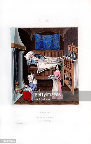 Tobit c1470 Tobit blind and sick has just dispatched his son Tobias to the city of Rages The woman cooking is his wife Anna She is using a jack to...