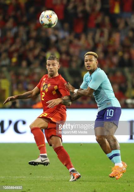 Toby Alderweireld and Depay Memphis fight for the ball during the International Friendly match between Belgium and The Netherlands on October 16 2018...