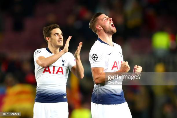 Toby Alderweireld and Harry Winks of Tottenham Hotspur celebrate after the UEFA Champions League Group B match between FC Barcelona and Tottenham...