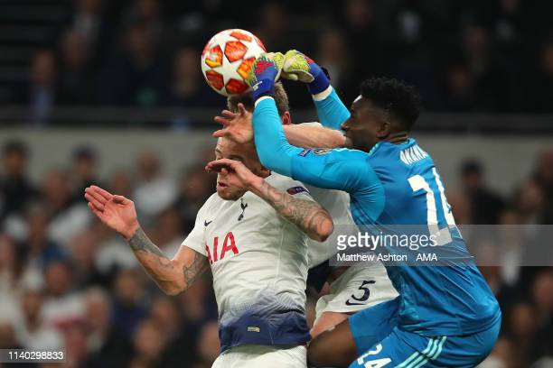 Toby Alderweireld and Jan Vertonghen of Tottenham Hotspur collide with Andre Onana of Ajax during the UEFA Champions League Semi Final first leg...