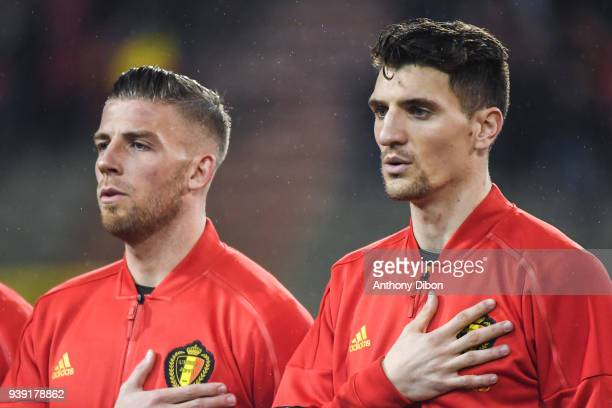 Toby Alderweireld and Thomas Meunier of Belgium during the International friendly match between Belgium and Saudi Arabia on March 27 2018 in Brussel...
