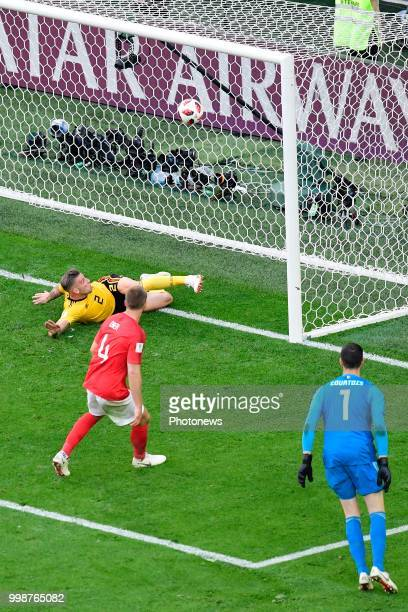 Toby Alderweireld defender of Belgium saves a ball from the line during the FIFA 2018 World Cup Russia Playoff for third place match between Belgium...