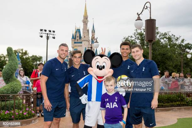 Toby Alderweireld Dele Alli Ben Davies and Harry Winks visit Magic Kingdom to surprise young Spurs fan Zachary Parker ride on Big Thunder Mountain...