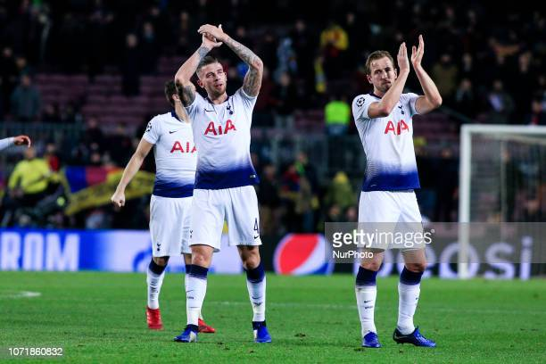 04 Toby Alderweireld from Belgium of Tottenham Hotspur 10 Harry Kane from England of Tottenham Hotspur and Tottenham players celebrating the pass to...