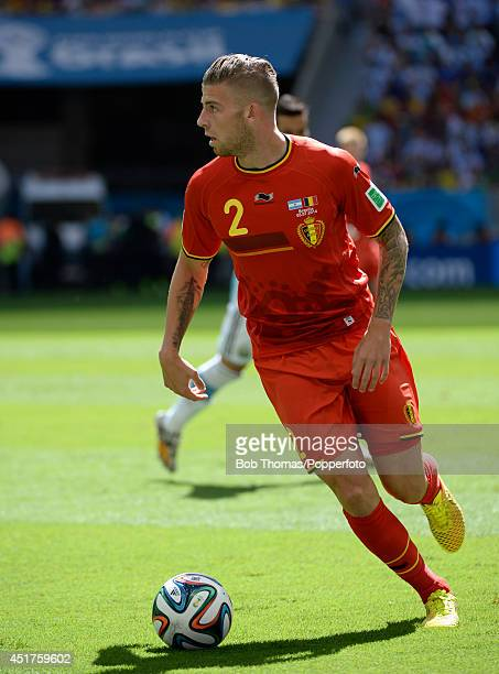 Toby Alderweireld in action for Belgium during the 2014 FIFA World Cup Brazil Quarter Final match between Argentina and Belgium at Estadio Nacional...