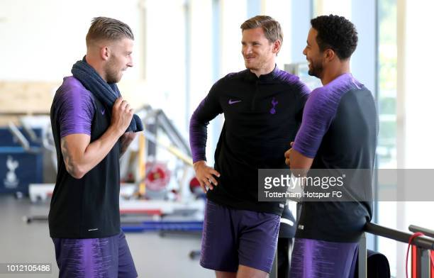 Toby Alderweireld Jan Vertonghen and Mousa Dembele of Tottenham at Tottenham Hotspur Training Centre on August 6 2018 in Enfield England