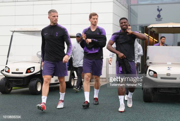 Toby Alderweireld Jan Vertonghen and Serge Aurier of Tottenham Hotspur during the Tottenham Hotspur training session at Tottenham Hotspur Training...