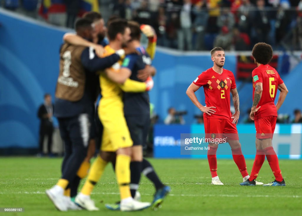 Toby Alderweireld of Belgium and Axel Witsel of Belgium look dejected following their sides defeat in the 2018 FIFA World Cup Russia Semi Final match between Belgium and France at Saint Petersburg Stadium on July 10, 2018 in Saint Petersburg, Russia.