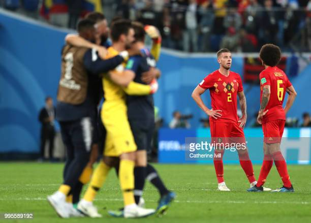 Toby Alderweireld of Belgium and Axel Witsel of Belgium look dejected following their sides defeat in the 2018 FIFA World Cup Russia Semi Final match...