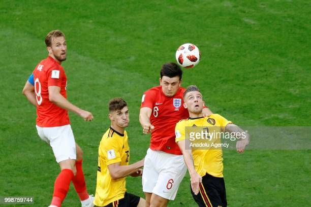 Toby Alderweireld of Belgium and Harry Maguire of England vie for the ball during the 2018 FIFA World Cup 3rd place match between Belgium and England...