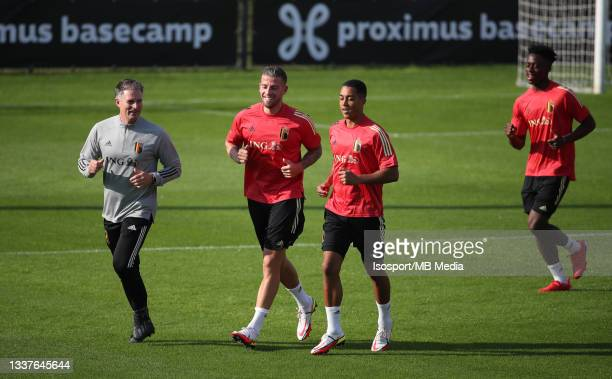 """Toby Alderweireld of Belgium and Youri Tielemans of Belgium during a training session of the Belgian national soccer team """" The Red Devils """" ahead of..."""