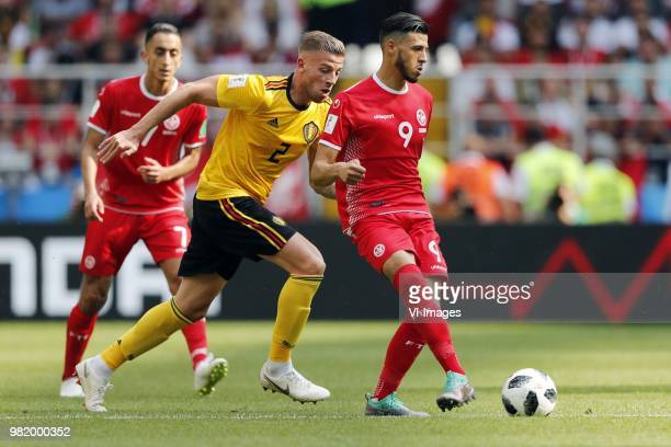 Toby Alderweireld of Belgium Anice Badri of Tunisia during the 2018 FIFA World Cup Russia group G match between Belgium and Tunisia at the Otkrytiye...
