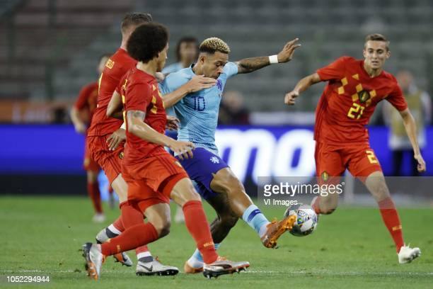 Toby Alderweireld of Belgium Axel Witsel of Belgium Memphis Depay of Holland Timothy Castagne of Belgium during the International friendly match...