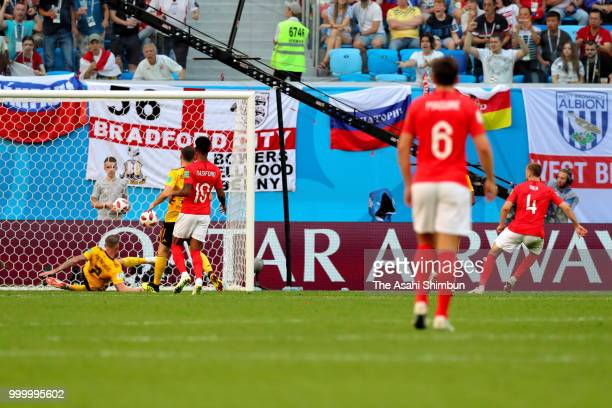 Toby Alderweireld of Belgium clears the ball off the line during the FIFA 2018 World Cup Russia Playoff for third place match between Belgium and...