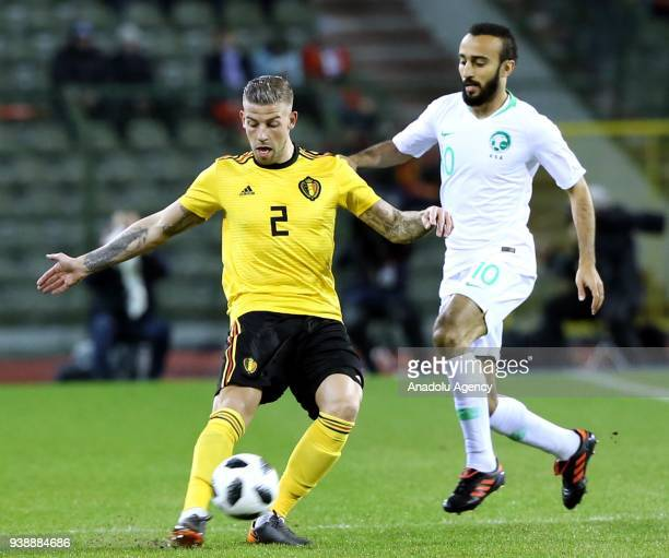 Toby Alderweireld of Belgium in action against Muhammed elSehlavi during the International Friendly match between Belgium v Saudi Arabia at the...