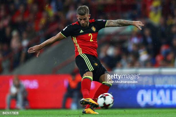 Toby Alderweireld of Belgium in action during the FIFA 2018 World Cup Qualifier between Belgium and Gibraltar at Stade Maurice Dufrasne on August 31...