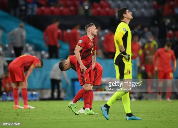Toby Alderweireld of Belgium looks dejected following defeat in the UEFA Euro 2020 Championship Quarter-final match between Belgium and Italy at...