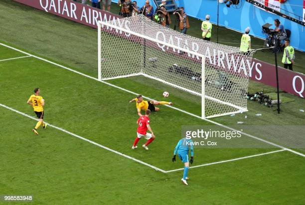 Toby Alderweireld of Belgium makes a goal line clearance from a shot by Eric Dier of England during the 2018 FIFA World Cup Russia 3rd Place Playoff...