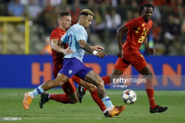Toby Alderweireld of Belgium Memphis Depay of Holland Dedryck Boyata of Belgium during the International friendly match between Belgium and The...