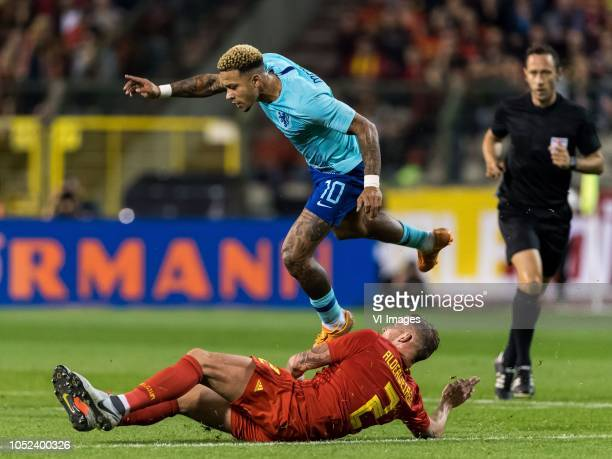 Toby Alderweireld of Belgium Memphis Depay of Holland during the International friendly match between Belgium and The Netherlands at the King...