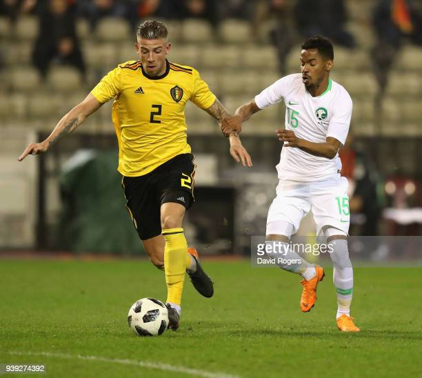 Toby Alderweireld of Belgium moves away from Salman Muwashar during the international friendly match between Belgium and Saudi Arabia at the King...