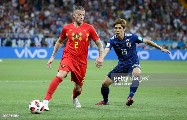 Toby Alderweireld of Belgium Yuya Osako of Japan during the 2018 FIFA World Cup Russia Round of 16 match between Belgium and Japan at Rostov Arena on...