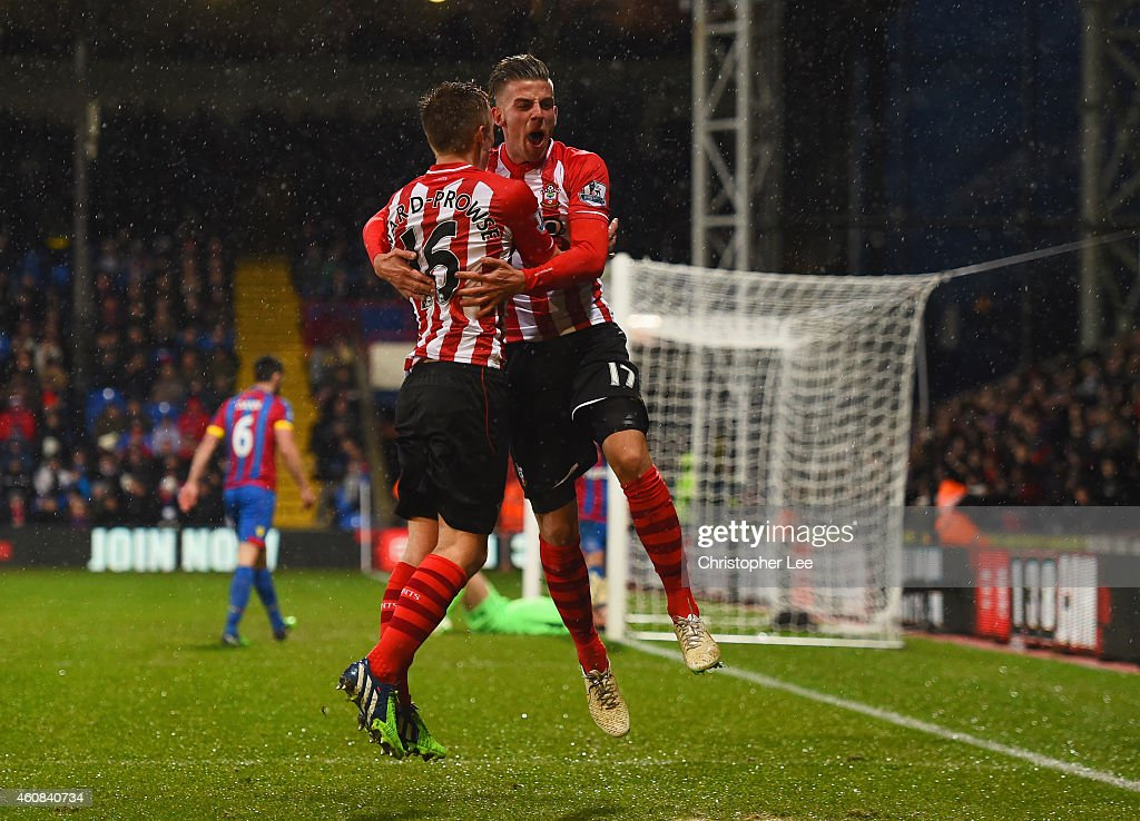 Toby Alderweireld of Southampton (R) celebrates with James Ward-Prowse as he scores teir third goal during the Barclays Premier League match between Crystal Palace and Southampton at Selhurst Park on December 26, 2014 in London, England.