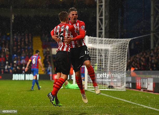 Toby Alderweireld of Southampton celebrates with James WardProwse as he scores teir third goal during the Barclays Premier League match between...