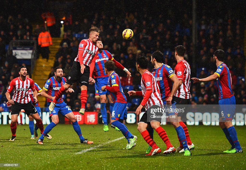 Toby Alderweireld of Southampton rises highest to score their third goal with a header during the Barclays Premier League match between Crystal Palace and Southampton at Selhurst Park on December 26, 2014 in London, England.