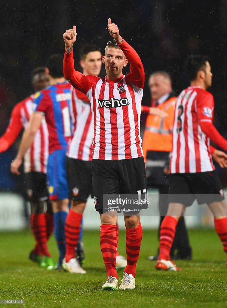 Toby Alderweireld of Southampton salutes the travelling fans after the Barclays Premier League match between Crystal Palace and Southampton at Selhurst Park on December 26, 2014 in London, England.