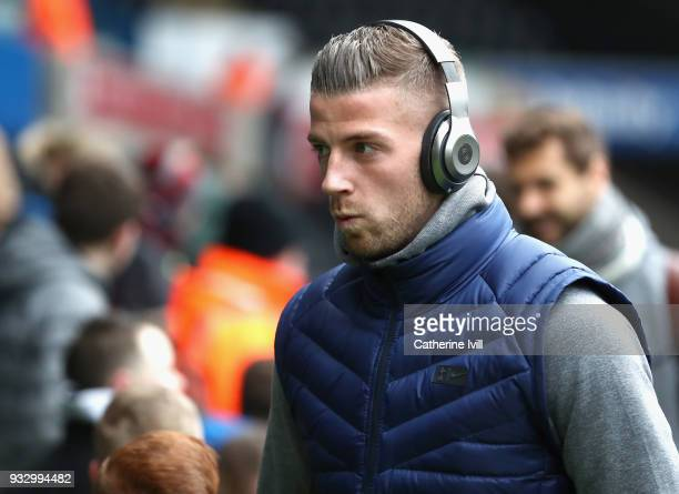 Toby Alderweireld of Spura arrives prior to The Emirates FA Cup Quarter Final match between Swansea City and Tottenham Hotspur at Liberty Stadium on...