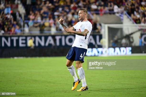 Toby Alderweireld of Spurs celebrates after putting his side 32 ahead during the International Champions Cup match between Paris Saint Germain and...