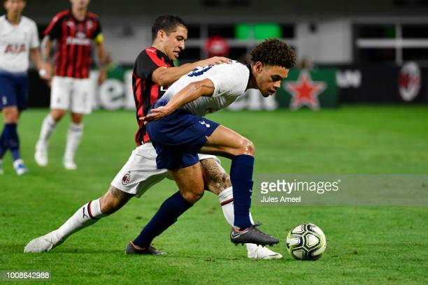 Toby Alderweireld of the Tottenham Hotspur vies for the ball against Gabriele Capanni of AC Milan during the second half of the International...